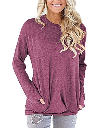 BONESUN Damen Langarm T-Shirt Einfarbige Rundhals Bluse Oberteil Tops mit Taschen Lila Rot DE 38 (T-shirt Rotes Tasche)