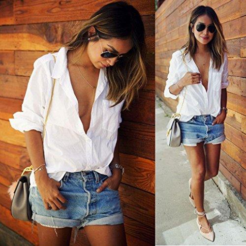 Xinan Damen Lange Ärmel V Neck Shirt Baumwolle Bluse Weiß Weiß