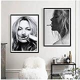 Rauchen Poster Mode Wandkunst Drucke Schwarz und Weiß Top Muster Foto Leinwand Malerei Wandbild Modernes Dekor-50x70cmx2 kein Rahmen