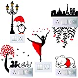 Switch Board Sticker , Madhuban Decor Multicolor/Colorful Decorative Art Switch Penal Dancing Lady,Couple,Bear,Paris Love Sticker for Your Home Switch Boards (PVC Vinyl Self Adhesive)