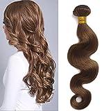 Moresoo 24Pulgadas/60cm Body Wave Cortina de Extensiones de Pelo Natural Extensiones Pelo Human Hair Weft 100% #4 Remy Hair Bundles 100gramos