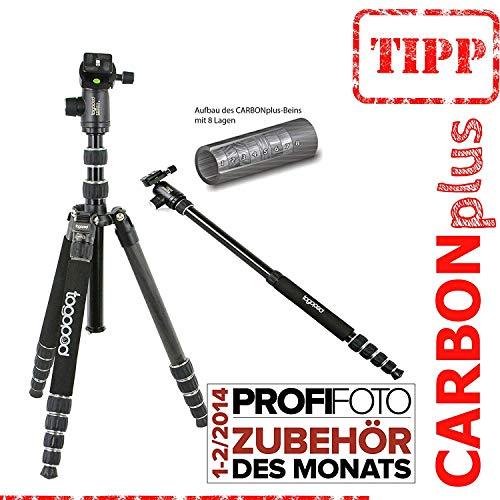 FOTOSTATIV Patrick Carbon - togopod Reise,- Kamera,- und Dreibeinstativ inklusiv 360° Kugelkopf + Tasche + Schnellwechselplatte, Packmaß: 39cm, Maxihöhe: 180cm, Gewicht: 1,5kg