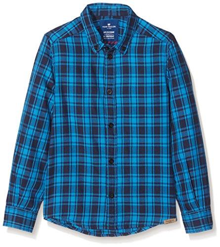 TOM TAILOR Kids Checked Basic Shirt, Camicia Bambino, Blu (Medium Deep Sky Blue 6993), 122 (Taglia Produttore: 116/122)