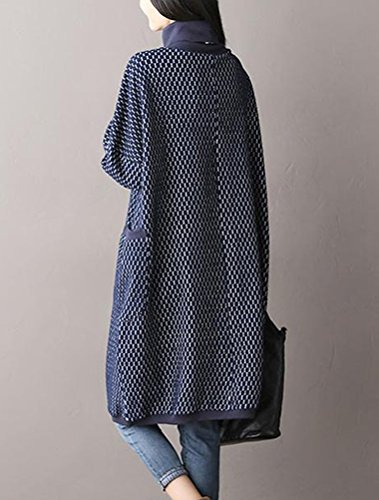 MatchLife Femme Vintage Col Roulé Coton Robe Style1-Bleu