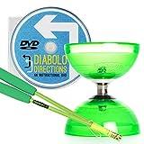 Cyclone Quartz 2 Diabolo Grün mit Grün Superglass Diablo Stäben (inkl Schnur) & 'Diabolo Directions' DVD (auf Englisch)