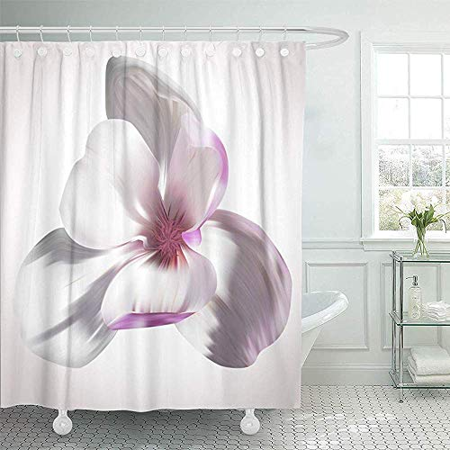 LINGJIE Duschvorhang 60X72 inch Shower Curtain Waterproof Magnolia Close Up On White of Birthday Greetings Magazines Unique Flowers Beauty Home Decor Polyester Fabric Adjustable Hooks Set