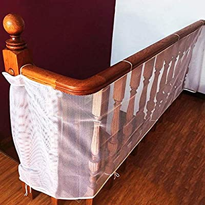 cococity Indoor Balcony and Stairway Safety Net,Baby Toddlers Kids Pet Banister Stair Net Protector, Sturdy Mesh Fabric Material 3m*0.75m Safety Net for Kids Pet Toy Safety