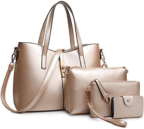 Tibes PU cuir sac à main + épaule de sac de femmes de la mode + porte-monnaie + carte 4pcs mis d'or1