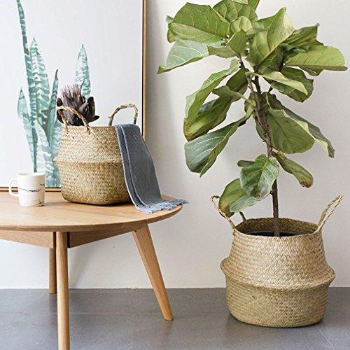 Faltbarer natürlicher Seagrass Gesponnener Lagerungstopf-Garten-Blumen-Vase hängenden Korb mit Griff-Lagerung aufgeblähter Korb, natürliche Farbe, S