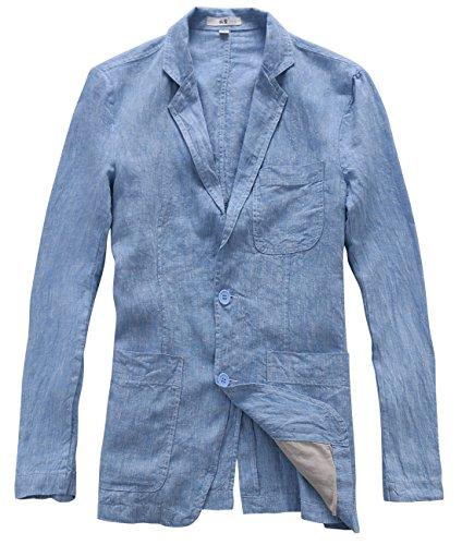 utcoco Herren Blazer mit Zwei Knöpfen aus Leinen - Blau - XS - Leinen-einreiher Sakko