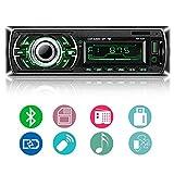 Autoradio Bluetooth, ieGeek Audio del Coche Reproductor MP3 Estéreo, Llamadas Manos Libres, FM Radio Coche, Pantalla de Visualización de LCD Bluetooth/USB / SD/AUX / Carga, 1 DIN
