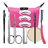 Aisi 9pcs Augenbrauen set Augenbrauenrasierer Augenbrauen Schablone Augenbrauen-Stift Bürstchen Kosmetiktasche Ausschnitt-Scheren Werkzeug-Set