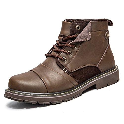 SITAILE Unisex-Erwachsene Schnürstiefeletten Profilsohle Stiefeletten Kurzschaft Stiefel für Herren Damen braun 39