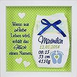 Baby Windel bestickt im Rahmen mit Spruch Geschenk Taufe Geburt (Design Maximilian)