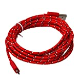Cables,JACKY 3M/10FT Hemp Rope Micro USB Charger Sync Data Cable Cord (Red)