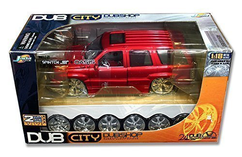 2002-cadillac-escalade-dubshop-model-kit-1-18-scale-extra-wheels-set-red-by-jada