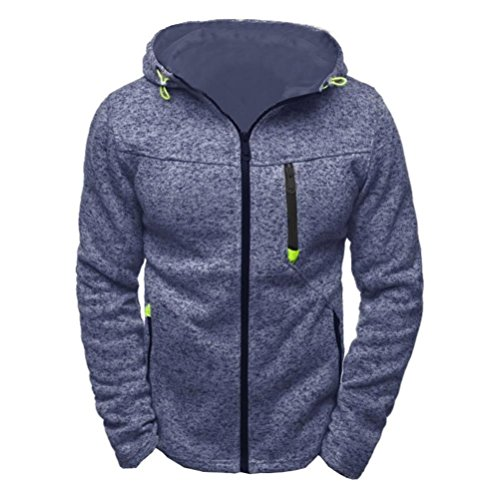 Sannysis Herren Kapuzenpulli Reißverschluss Slim Fit Kapuzenpullover Sweatshirts Pullover Mantel Jacke (L, Blau) (Jacket Bubble Kapuze)