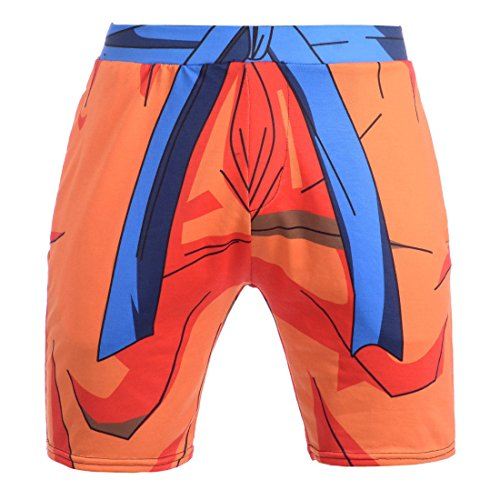 Men's 3D Dragon Ball Z and Naruto Printed Short Orange
