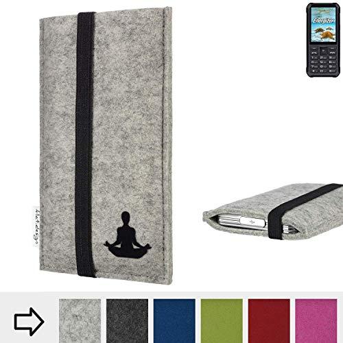 flat.design Handy Hülle Coimbra für Energizer H20 - Yoga Asana Lotussitz Tasche Case Filz Made in Germany hellgrau schwarz