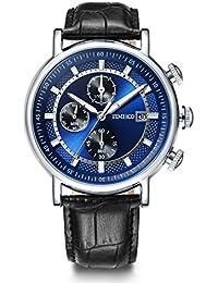 aa692837e96b Time100 Reloj cuarzo para hombre de deporte moderno de número romano con  diamante correa de piel. B01JZ8E20G