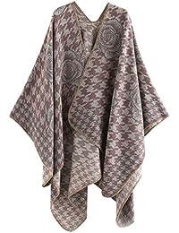 FEOYA Poncho de Mujer Estola Invierno Estampado Florales Original Lana Artificial Caliente para Vestido Gran Tamaño Color Variado 150 * 135cm