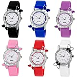 ZUPERIA Diamond Studded Butterfly Watches for Girls and Women (Set of 6)