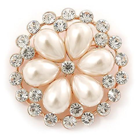 Mariage, mariage, Bal, Cristal, perle fleur Broche en Or Rose–55mm