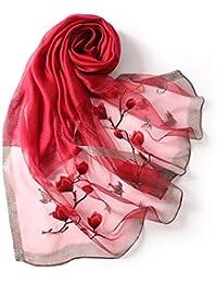 3e38761a8424bc Luuruu Foulard Elegante Scialle Sciarpe da Donna Sciarpa Telo mare in seta  ricamata