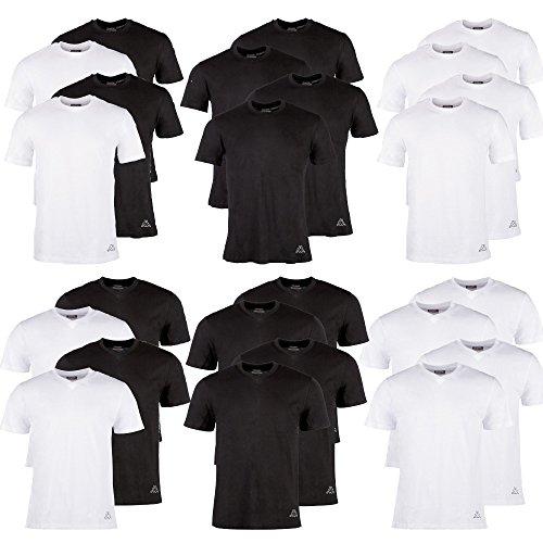 Kappa T-Shirts Ziatec Edition, 2 oder 4 Stück, Rundhalsausschnitt, V-Ausschnitt, Größe:M, Farbe:4 x Rundhals Mix - V-neck Baumwolle T-shirts Drucken