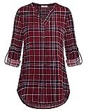 Damen Chiffon Oberteile,Youtalia Damen V-Ausschnitt 3/4 Armlänge Shirts Geschwungener Saum Summer Freizeit Tunika Bluse Tiefblau Größe L
