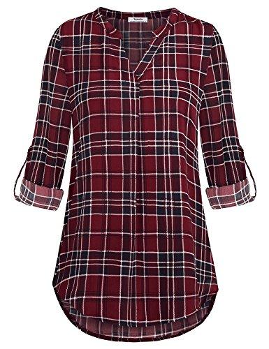 Youtalia Damen Freizeit Chiffon V-Ausschnitt Manschetten-Ärmel Locker Shirt Bluse Oberteile (Medium, Blau Rot) (Shirts 4 3 Länge)