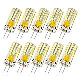 Liqoo 10er G4 LED 3W Lampe Birne 48 x 3014 Chip gleichmäßige Beleuchtung super mini Ø 10mm 3000K Warmweiß 220LM Ersetzt 20W Halogenlampe AC DC 12V, Nicht Dimmbar