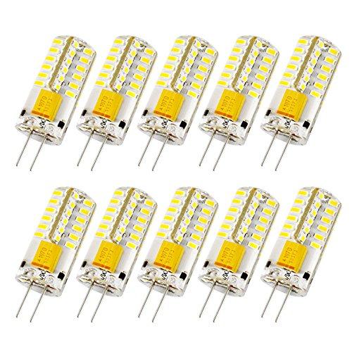 Liqoo 10er G4 LED 3W Lampe Birne 48 x 3014 Chip gleichmäßige Beleuchtung super mini Ø 10mm 3000K Warmweiß 220LM Ersetzt 20W Halogenlampe AC DC 12V, Nicht Dimmbar (Lampen 48)