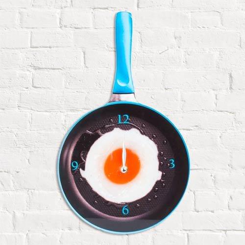 Preisvergleich Produktbild Reloj de Pared de Cristal Sartén con Huevo Frito