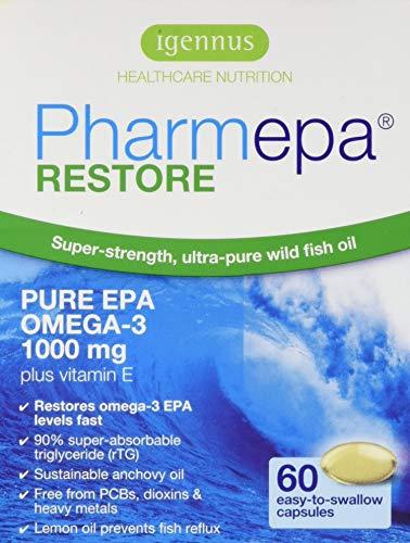 Pharmepa RESTORE Omega 3 EPA pharmazeutisches Fischöl, dreifache Stärke, 1000 mg reines EPA Omega 3 pro Portion, 60 Kapseln für 1 Monat