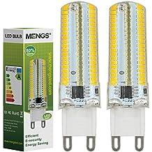MENGS® Pack de 2 Regulable Bombilla lámpara LED 7 Watt G9, 152x 3014 SMD, Blanco Cálido, AC 220-240V