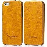 tinxi® Premium Kunstleder Tasche für Apple iPhone SE 5S Schutzhülle Flipcase Schale Cover Hülle Tasche Etui Skin UP DOWN in gelb