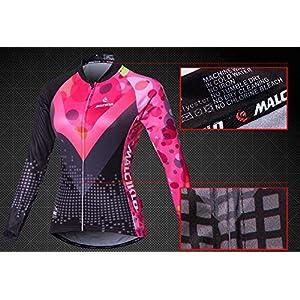 Malciklo Sets Ropa Ciclismo, Maillot de Manga Larga con Mallas para Mujer, Culotes de Malla de Bicicleta Transpirable Almohadilla 3D Secado Rápido (Negro, XL)