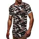 Men's Camouflage T Shirt Fashion Personality Slim Shirt Casual Short-sleeved Tops (L, Gray)