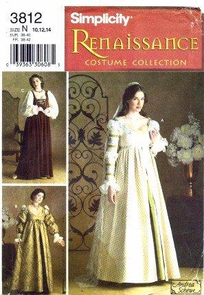 nittmuster Schnittmuster Renaissance Prinzessin Kostüm Gewand Größe 10–14–Brustumfang 321/2–36 (Renaissance Gewand)