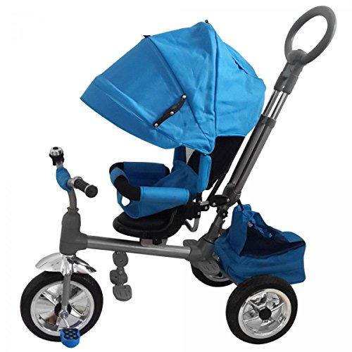 Triciclo passeggino luxury blu con manico direzionabile e cappottina, sedile girevole