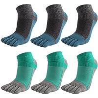 6 Pares Hombres Toe Calcetines Cinco Dedos Calcetines De Algodón Suave Y Transpirable Bajo Corte Calcetines