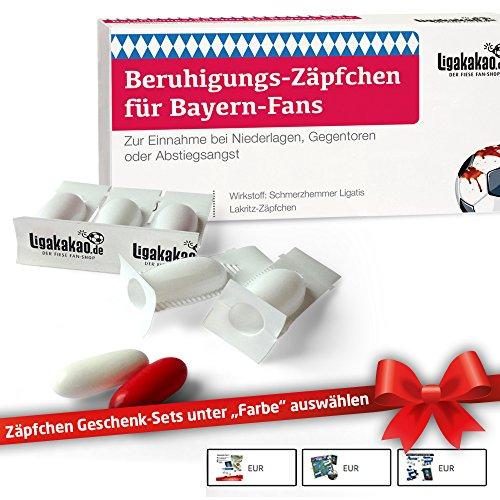 Beruhigungs-Zäpfchen® für Bayern-Fans | Lakritz-Zäpfchen zur Anwendung bei Niederlagen & Abstiegsangst| Schalke, Dortmund & Fußball-Fans aufgepasst: Männer Geschenke & Liga Topseller