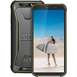 """Télephone Incassable, Blackview BV5500Pro Écran 5.5""""HD+ au Radio de 18:9, 16Go ROM + 3Go RAM, Batterie 4400mAh, 4G Android 9.0, Caméras 8MP + 5MP, Télephone Etanche Antichoc, NFC/Gyroscope/GPS-Jaune"""