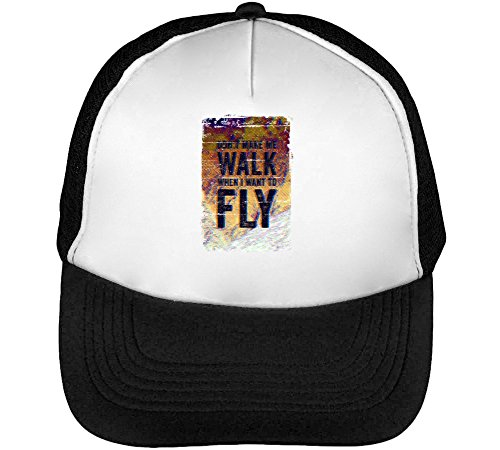 Preisvergleich Produktbild Its My Way / Dont Make Walk When I Want to Fly / Phrases Collection / Cool T Shirt / Nice to / Super / Osom Words / Popular Quotes Men's Baseball Trucker Cap Hat Snapback Black White