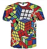 XIUFANG Hombres 3D Digital Imprimir Playeras Fresco Novedad Gracioso Moda Cubo de Rubik Gráfico Suelto Casual El Verano Manga Corta Crewneck Top Tees,A,XL