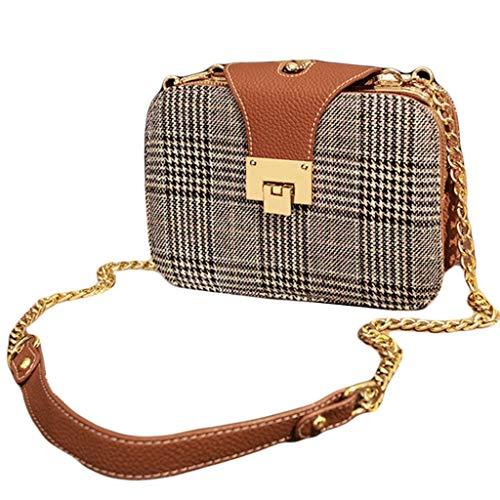 Yanbeng Frauen Umhängetasche Kette Umhängetasche Delicate Lock Bag Plaid Weave Pack Damen Kleine Quadratische Tasche Für Arbeit,Brown,22 * 8 * 15cm -