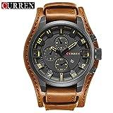 CURREN Multifunktions-Business-Quartz-Uhr für Herren Lederband 30 Meter Wasserfeste Armbanduhr - Braunes Armband Graues Gesicht Weiß Le