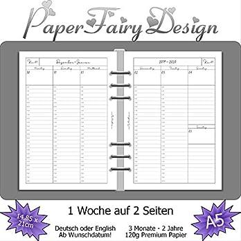 Kalendereinlagen 2020 – DIN A5 (14.8cm x 21cm) – 1 Woche auf 2 Seiten – 120g Premium Papier