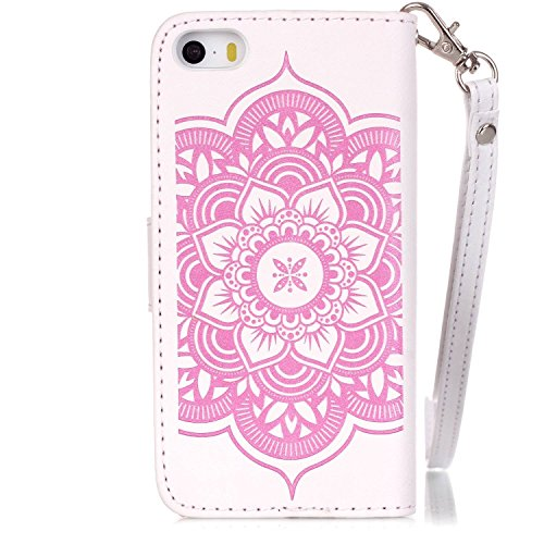 iPhone SE iPhone 5 iPhone 5S Hülle,iPhone SE 5 5S Case,Cozy Hut Campanula-Blumen Design Muster Prägemuster Design Folio Cover Wallet im Bookstyle mit Standfunktion Karteneinschub und Magnetverschluß E Weiß Rosa Traumfänger